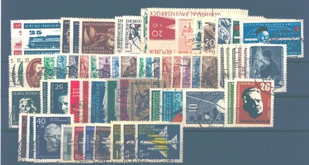 East Germany stamp issues of the year 1957 used