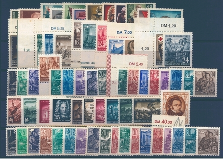 East Germany stamp issues of the year 1953 mint